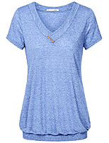 cheap -casual shirts for women, women's cotton v neck active short sleeve t-shirt tee casual blouse tops(royal blue,l)