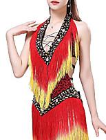 cheap -Latin Dance Dress Leopard Print Tassel Women's Training Performance Milk Fiber