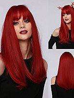 cheap -Halloween Cosplay Wig Long Straight Deep Red Synthetic Hair Wigs with Bangs for Black White Woman Heat Resistant Wig