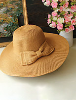 cheap -Straw Straw Hats with Solid 1 Piece Holiday / Horse Race Headpiece