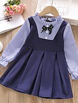 cheap -Kids Little Girls' Dress Striped Lace up Blue Knee-length Long Sleeve Cute Dresses Fall Summer Regular Fit
