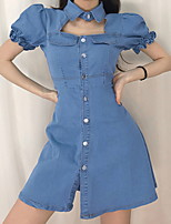 cheap -Women's Wrap Dress Short Mini Dress Blue Short Sleeve Solid Color Patchwork Fall Summer Shirt Collar Elegant Casual Cotton 2021 S M