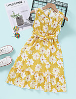 cheap -Kids Toddler Little Girls' Dress Daisy Flower Sundress Print Yellow Knee-length Sleeveless Active Dresses Summer Regular Fit 2-8 Years