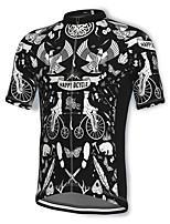 cheap -21Grams Men's Short Sleeve Cycling Jersey Spandex Black Bird Bike Top Mountain Bike MTB Road Bike Cycling Breathable Quick Dry Sports Clothing Apparel / Athleisure