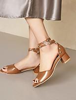 cheap -Women's Sandals Chunky Heel Open Toe Microfiber Rivet Solid Colored White Black Blue