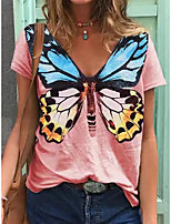 cheap -Women's T shirt Butterfly Print V Neck Tops Cotton Basic Basic Top White Black Blue