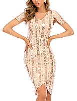 cheap -Women's A Line Dress Knee Length Dress Golden Short Sleeve Print Solid Color Color Block Sequins Patchwork Summer V Neck Casual 2021 S M L XL
