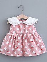 cheap -Toddler Little Girls' Dress Cherry Fruit Print White Yellow Blushing Pink Knee-length Sleeveless Regular Sweet Dresses Summer Loose 2-4 Years