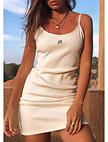 cheap -Women's A Line Dress Short Mini Dress White Sleeveless Solid Color Embroidered Patchwork Fall Summer Elegant Casual 2021 S M L