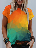 cheap -Women's T shirt Color Gradient Geometric Print Round Neck Tops Basic Basic Top Orange
