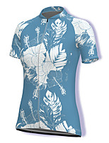 cheap -21Grams Women's Short Sleeve Cycling Jersey Spandex Blue Floral Botanical Bike Top Mountain Bike MTB Road Bike Cycling Breathable Sports Clothing Apparel / Stretchy / Athleisure
