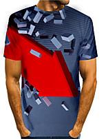 cheap -Men's T shirt 3D Print Graphic 3D 3D Print Short Sleeve Daily Tops Basic Casual Gray