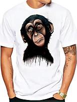 cheap -Men's Tees T shirt Hot Stamping Graphic Prints Orangutan Animal Print Short Sleeve Daily Tops Basic Casual White