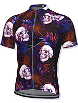 cheap -21Grams Men's Short Sleeve Cycling Jersey Spandex Red Skull Bike Top Mountain Bike MTB Road Bike Cycling Breathable Quick Dry Sports Clothing Apparel / Athleisure