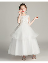 cheap -Princess / Ball Gown Jewel Neck Ankle Length Tulle Junior Bridesmaid Dress with Sash / Ribbon / Bow(s) / Pearls