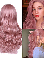 cheap -Synthetic Wig Deep Wave Middle Part Wig 22 inch Pink+Red Synthetic Hair Women's Cosplay Party Fashion Pink