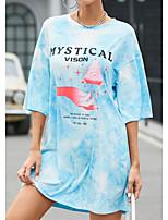 cheap -Women's A Line Dress Short Mini Dress Light Blue Pink Half Sleeve Solid Color Patchwork Print Fall Summer Round Neck Elegant Casual 2021 S M L XL XXL