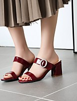 cheap -Women's Sandals Chunky Heel Round Toe PU Synthetics White Black Red