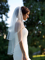cheap -Two-tier European Style Wedding Veil Fingertip Veils with Trim Tulle