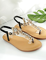 cheap -Women's Sandals Boho Bohemia Beach Flat Heel Round Toe Flat Sandals Casual Daily Walking Shoes Faux Leather Solid Colored White Black Blue