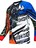 cheap -21Grams Men's Long Sleeve Downhill Jersey Spandex Blue Bike Jersey Top Mountain Bike MTB Road Bike Cycling UV Resistant Quick Dry Sports Clothing Apparel / Athletic