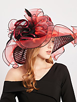 cheap -European Style Organza / Feathers / Poly / Cotton Blend Headwear with Sequin / Cascading Ruffles / Flower 1 Piece Wedding Headpiece