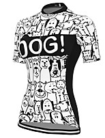 cheap -21Grams Women's Short Sleeve Cycling Jersey Spandex White Dog Bike Top Mountain Bike MTB Road Bike Cycling Breathable Sports Clothing Apparel / Stretchy / Athleisure