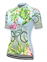 cheap -21Grams Women's Short Sleeve Cycling Jersey Spandex Green Flamingo Floral Botanical Bike Top Mountain Bike MTB Road Bike Cycling Breathable Sports Clothing Apparel / Stretchy / Athleisure