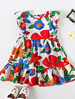 cheap -Kids Little Girls' Dress Sun Flower Red Floral School Festival Ruffle Print Red Knee-length Sleeveless Princess Dresses Children's Day Summer Regular Fit 3-10 Years