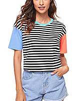 cheap -Women's T shirt Striped Color Block Round Neck Tops Basic Basic Top Blue Red Yellow