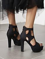 cheap -Women's Sandals High Heel Peep Toe PU Synthetics Black Gold Silver
