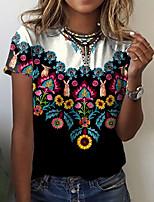 cheap -Women's T shirt Graphic Floral Print Round Neck Tops Basic Basic Top Black