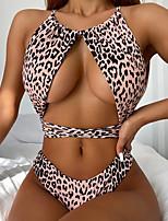 cheap -Women's One Piece Monokini Swimsuit Open Back Slim Color Block Leopard Light Brown Swimwear Padded Crop Top Strap Bathing Suits New Fashion Sexy