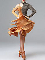 cheap -Latin Dance Leotard / Onesie Ruffles Tassel Women's Training Performance Long Sleeve Milk Fiber