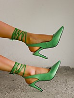 cheap -Women's Sandals High Heel Pointed Toe PU Ribbon Tie Lace-up Button Solid Colored Burgundy Blue Green