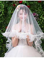 cheap -One-tier Cute Wedding Veil Cathedral Veils with Pendant Tulle
