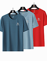 cheap -Men's T shirt Hiking Tee shirt Short Sleeve Crew Neck Tee Tshirt Top Outdoor Windproof Ultraviolet Resistant Quick Dry Lightweight Autumn / Fall Spring Summer Ice Silk Polyester Solid Color White