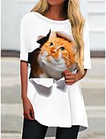 cheap -Women's T Shirt Dress Tee Dress Short Mini Dress White Yellow Half Sleeve Cat Animal Print Spring Summer Round Neck Casual 2021 S M L XL XXL 3XL