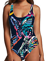 cheap -Women's One Piece Monokini Swimsuit Tummy Control Print Color Block Animal Black Swimwear Bodysuit Strap Bathing Suits New Fashion Sexy