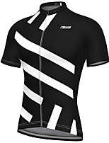 cheap -21Grams Men's Short Sleeve Cycling Jersey Spandex Black Stripes Bike Top Mountain Bike MTB Road Bike Cycling Breathable Quick Dry Sports Clothing Apparel / Athleisure