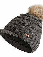 cheap -fanteecy women's winter warm hat crochet slouchy beanie knitted caps with visor,chunky baggy hat fur pom pom soft warm cap army green