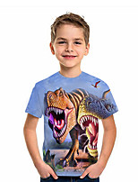 cheap -Kids Boys' T shirt Short Sleeve Dinosaur Animal Daily Wear Print Children Summer Tops Active Regular Fit Blue 4-12 Years
