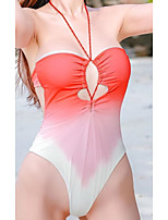 cheap -Women's One Piece Monokini Swimsuit Push Up Print Solid Color Blushing Pink Swimwear Padded Bathing Suits New Casual Sexy