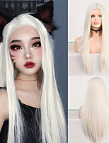 cheap -Middle Part Long Straight Synthetic Wig Platinum Blonde Wigs for Women High Temperature Hair Cosplay Wig
