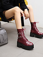 cheap -Women's Boots Platform Round Toe PU Synthetics Black Burgundy Brown