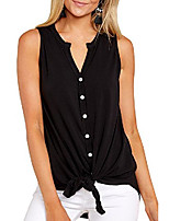 cheap -women's sleeveless tie front henley shirts button up tank top black