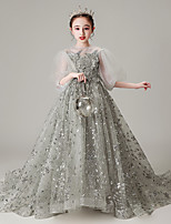 cheap -Princess / Ball Gown Jewel Neck Sweep / Brush Train Tulle Junior Bridesmaid Dress with Pleats / Beading / Appliques
