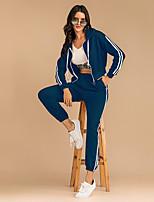 cheap -Women's Basic Streetwear Plain Daily Two Piece Set Hoodies & Sweatshirts Tracksuit Pant Drawstring Patchwork Tops
