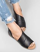 cheap -Women's Sandals Boho Bohemia Beach Flat Heel Round Toe PU Light Brown Black Red