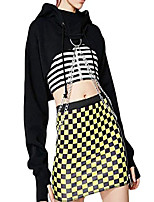 cheap -women's drawstring long sleeve hoodies pullover crop tops sweatshirts chain (xxl, black) (black, l)